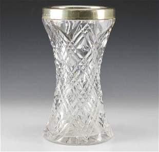 English Cut Crystal Sterling Silver Overlay Vase