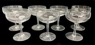7 Baccarat Rabelais Champagne Saucers Hexagonal Stem