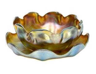 Tiffany LCT Favrile Iridescent Scallop Rimmed Bowl