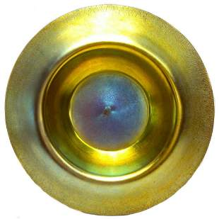 Large Steuben Aurene Gold and Blue Centerpiece Bowl