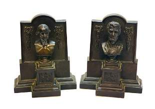 Bronze Presidential Book Ends by Griffoul Newark