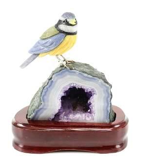 Peter Muller Multi Carved Finch Bird Geode