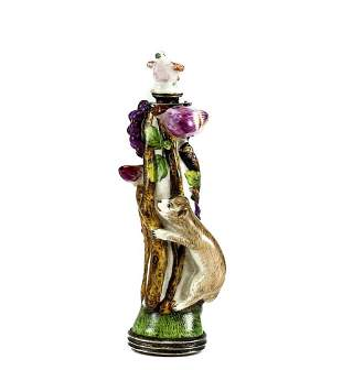 Continental Silver Porcelain & Agate Figural Perfume