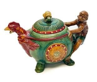 Minton Style Majolica Teapot - Monkey, Chicken, Snail