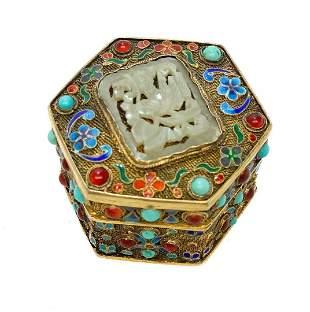 Chinese Gilt Silver Filigree Enamel & Stone Tinket Box