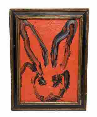 Hunt Slonem Oil on Board Rabbit, 2008
