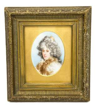 Continental Hand Painted Miniature Portrait of a Beauty