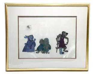 Disney Animation Cel - Rabit & Owls Robin Hood