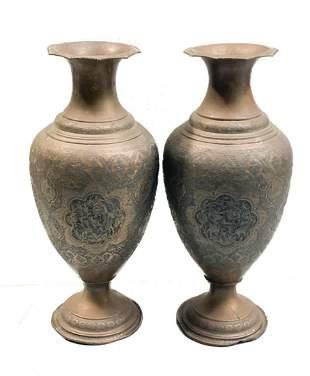 Middle Eastern Copper Engraved Large Vases, c1900