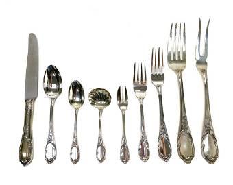 Buccellati Italian Silver Flatware for 12 in Versailles
