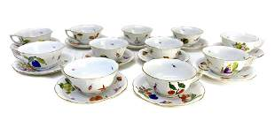 12 Herend Hungary Hand Painted Cup & Saucers #734