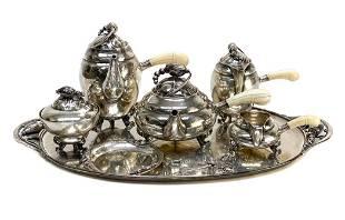 Georg Jensen 925 Silver Hammered Tea Set in Blossom