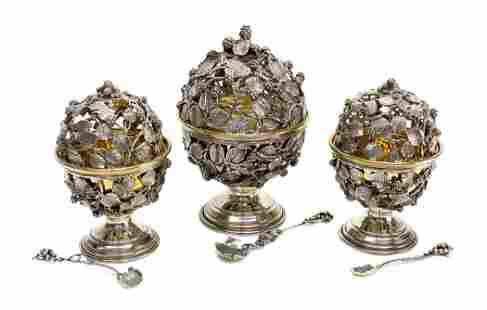3 Piece Italian Sterling Silver Caviar Bowls