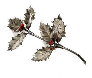 Mario Buccellati 925 Silver and Coral Holly Figurine.