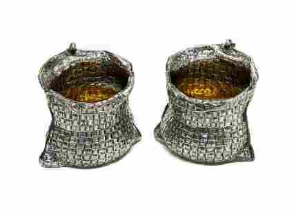 Pair Buccellati Sterling Silver Trompe L'oeil Salts