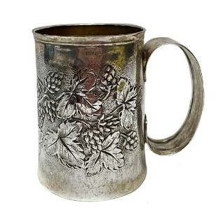 Italian .800 Silver Engraved Repousse Floral Mug