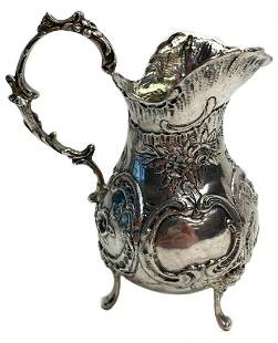 German .800 Silver Footed Creamer, Repousse Florals &