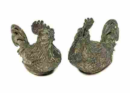 Continental Silver Novelty Rooster Salt Pepper Shakers
