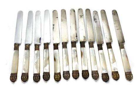 12 Puiforcat Paris Steel Mother of Pearl Gilt Knives