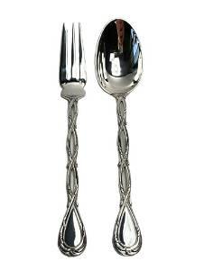 Puiforcat Silver Serving Spoon & Fork in Royal