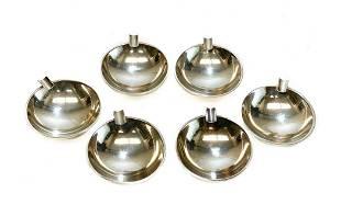 6 H. Nils Denmark Sterling Silver Modernist Ashtrays