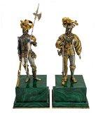 Pair Italian Silver & Malachite Figures of Knights