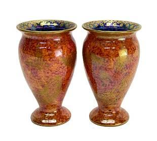 Pair Wedgwood Luster Porcelain Gilt Butterfly Vases