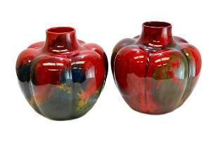 Royal Doulton Porcelain Sung Ware Flambe Squat Vases