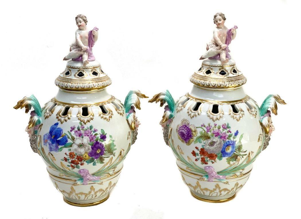 Pair Royal Berlin KPM Porcelain Twin Handled Jester