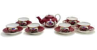 Gardner Imperial Russian Porcelain Red Floral Tea