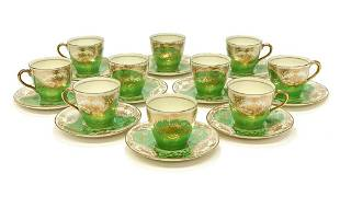 10 Royal Doulton Porcelain Green & Gold Cup and Saucers