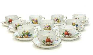 10 Herend Hungary Porcelain Cup & Saucers