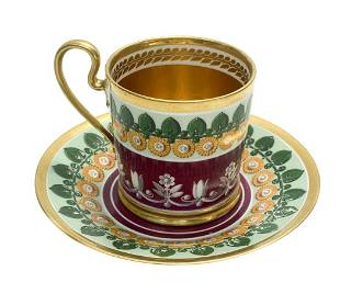 Manufacture De Sevres Porcelain Cup and Saucer