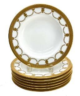 7 Coalport for Tiffany & Co. Porcelain Rimmed Soup