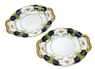 Pair Coalport Porcelain Twin Handled Small Dishes