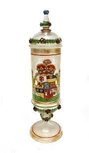 German Art Glass Lion Armorial Crest Lidded Cup
