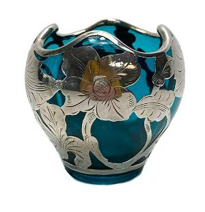 Aquamarine-Colored American Silver Overlay Vase