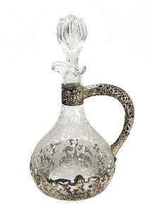 Finland 813H Silver Overlay Glass Wine Decanter