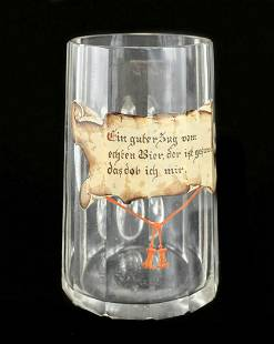 German Stein Art Glass Beer Mug, circa 1900