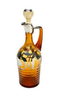 Continental Silver Overlay Amber Glass Decanter. Leaf