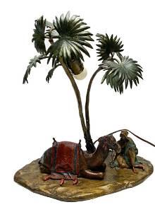Austrian Cold Painted Bronze Bergmann Lamp Moor & Camel