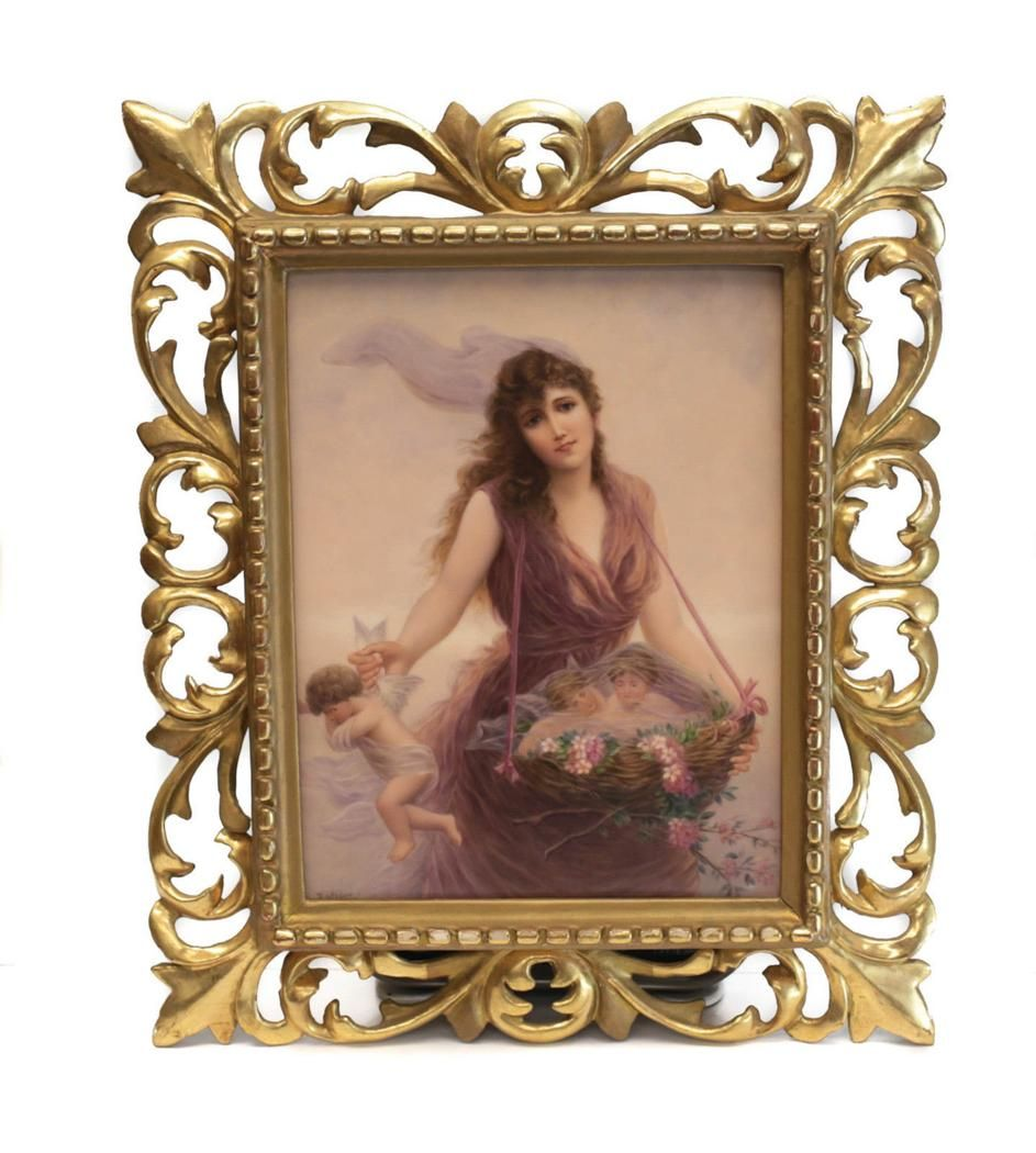 KPM Porcelain Plaque Beauty Collecting Cherubs Signed