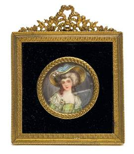 Continental Hand Painted Portrait Miniature Frame Stand