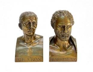Pair Bookends Patinated Bronze Busts Cicéron