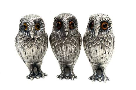 3 William Comyns Sterling Silver Owl Condiments