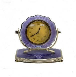 Henry Matthews Sterling Silver Guilloche Art Deco Clock