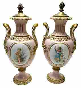 Royal Crown Derby Porcelain Lidded Urn Bronze Lids