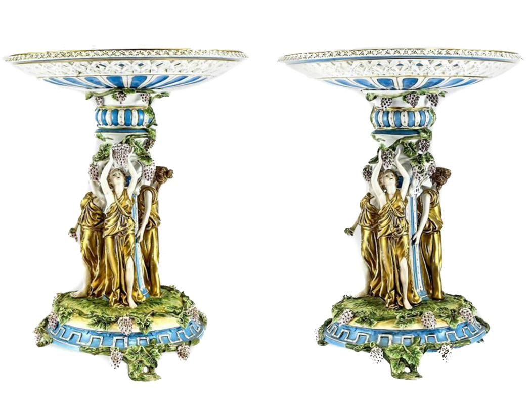 Pair of German Porcelain Bacchantes Tazza or Stand