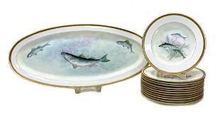 Royal Worcester Hand Painted Porcelain Fish Set