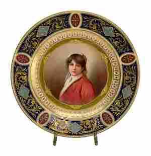 Royal Vienna AustriaPorcelain Cabinet Portrait Plate